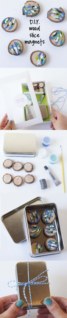 Make your own wood slice magnets with this complete kit including all of the supplies you will need in one box.
