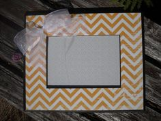 Yellow chevron frame by MarieJames Design Etsy listing at http://www.etsy.com/listing/161320749/picture-frame-handmade-scrapbook-wood
