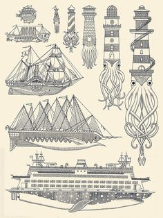 generallynautical:kylermartz:Whaleboats II Screenprint.2012.Kyler MartzLove it.Clever and beautiful prints by Kyler Martz.