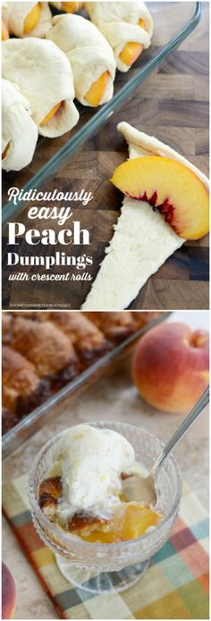 Ridiculously Easy Peach Dumplings for Last Hurrah Celebrate summer. Wedding , Ridiculously Easy Peach Dumplings for Last Hurrah Celebrate summer. Ridiculously Easy Peach Dumplings for Last Hurrah Cele. Dessert Simple, Bon Dessert, Easy Peach Dessert, Summer Dessert Recipes, Fruit Recipes, Baking Recipes, Easy Summer Desserts, Cake Recipes, Recipies