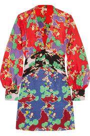 RIXO London - Alanna printed silk-jacquard mini dress