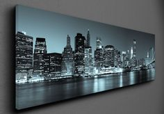 Panoramic view by night - Canvas Canvas Frame, San Francisco Skyline, New York Skyline, Monitor, Marvel, Night