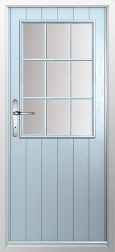 Composite door, example of cottage grill in Duckegg blue. High quality, secure and in your choice of colours, including almost any from the RAL color range! Check out our new extended range and design your new composite door today with Just Value Doors.
