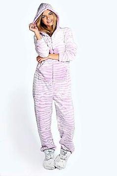 BooHoo Annie Luxe Fleece Zebra Onesie Was  46 Now  26 At BooHoo Pink luxe  onesie https 78c5c029e
