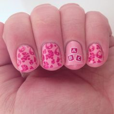 Baby shower nails. Stamping Saturday look #2