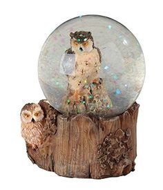 StealStreet Brown and Cream Owl Snow Globe with Tree Stump Stand Collectible