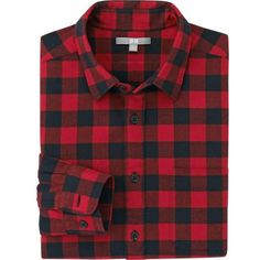 UNIQLO Flannel Check Long Sleeve Shirt ($39) ❤ liked on Polyvore featuring mens, men's clothing, men's shirts and men's casual shirts