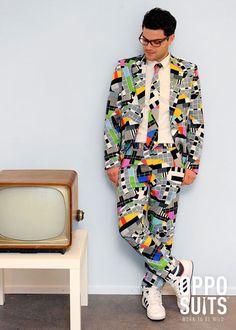 Adult Mens 80s Test Card Suit Costume