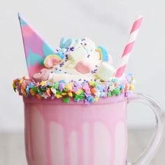 Try sprinkling some Tinker Dust® and Krazy Sprinkles® if you make this yourself! Milk Shakes, Homemade Milkshake, Milkshake Recipes, Cute Desserts, Delicious Desserts, Yummy Food, Healthy Food Instagram, Unicorn Milkshake, Unicorn Foods