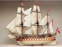 The Billings Norske Love wooden ship model is an accurate recreation of the real life three-masted warship launched in 1765.