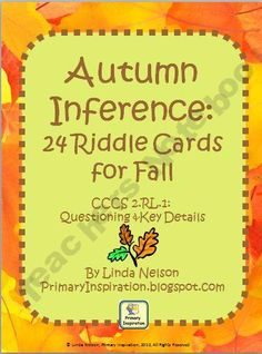 Free Autumn Inference: 24 Riddle Cards for Fall  PrimaryInspiration Shop - | Teachers Notebook