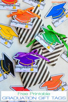 These Mortar Board Shaped Free Printable Gift Tags for Graduation Gifts are Available in Eight Colors