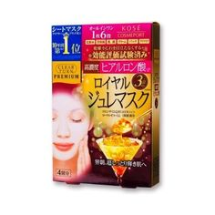 KOSE CLEAR TURN PREMIUM Royal Jelly Mask (Hyaluronic Acid) 4 per box #KOSECOSMEPORT