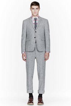 THOM BROWNE Grey wool slub confetti suit