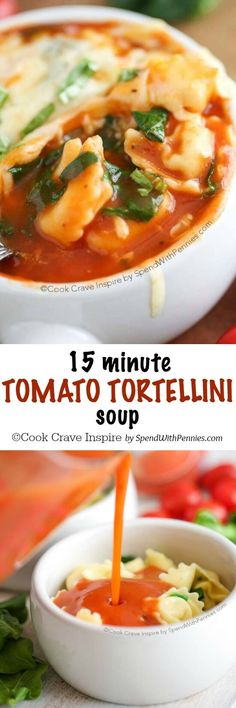 This Tomato Tortellini Soup takes just 15 minutes making it the perfect weeknight meal! Quick easy and totally cheesy, my whole family loves this soup!
