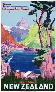 South Island, New Zealand. Famous Lakes, Mountains, Fjords.  c.1930s  http://www.vintagevenus.com.au/products/vintage_poster_print-tv777