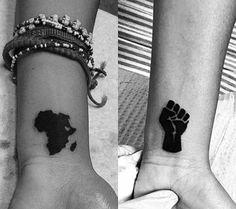 earrings for women, political map, africa tv, african songye mask, africa oye toofan Black People Tattoos, Black Girls With Tattoos, Black Tattoos, Small Tattoos, Afro Tattoo, Fist Tattoo, Dope Tattoos, Body Art Tattoos, Sleeve Tattoos