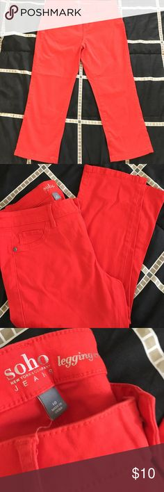 Soho Red Cropped Legging Jeans Soho Red Cropped Legging Jeans. Excellent condition.  Never worn. New York and company. Size 10 New York & Company Jeans Ankle & Cropped