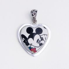 Broken China Jewelry Mickey Mouse with Flower Sterling Pendant on Etsy, $78.00