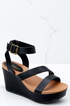 5d68316e26d4 Chic Black Wedges - Trendy Black Wedges - Wedges -  34.00 – Red Dress  Boutique
