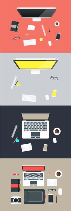 Flat Hero Desk Illustrations in Vector Format