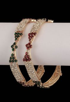 Maroon, Green and White Stone Studded Bangles @ $22.73