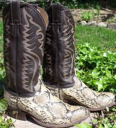 WEDDING BOOTS!!! Cowboy boots JUSTIN tan leather PYTHON snake by OutOfMyMamasAttic, $49.99
