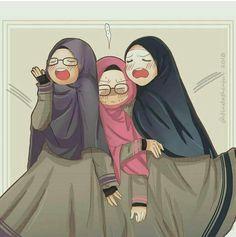 Friend Cartoon, Girl Cartoon, Cartoon Art, Hijab Drawing, Islamic Cartoon, Hijab Cartoon, Muslim Hijab, Muslim Girls, Cute Chibi
