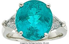 Tourmaline, Diamond & Platinum Ring.