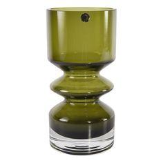 Mid Century Modern Art Glass Green Vase made in Finland