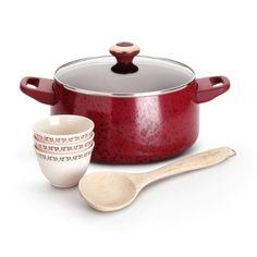 Paula Deen Signature Porcelain Nonstick 6-Piece Cookware Soup and Stew Set, Red Speckle