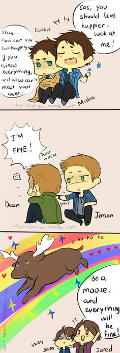 Misha and Cas, Jensen and Dean, Jared and Sam