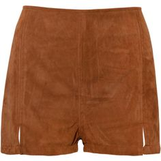 Dixie High Waisted Short in Suede Tan by Motel ($22) ❤ liked on Polyvore featuring shorts, highwaisted shorts, zipper shorts, mini shorts, high waisted shorts and short shorts