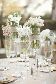♥ chic vintage decor for your wedding with organically grown flowers in reclaimed glass vases wrapped with organic cotton twine.