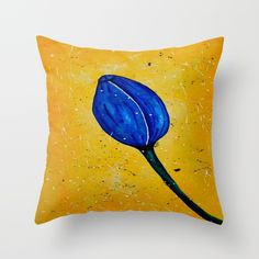 Blue Tulip Acrylic Abstract painting by Saribelle Throw Pillow
