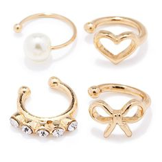 Forever 21 Heart Ear Cuff Set ($5.90) ❤ liked on Polyvore featuring jewelry, earrings, rings, charm earrings, forever 21, ear cuff earrings, faux pearl earrings and heart charms