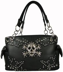 Skull and Crossbones Purse E/W Satchel with Rhinestones Faux Leather Handbag- Available in 2 Colors