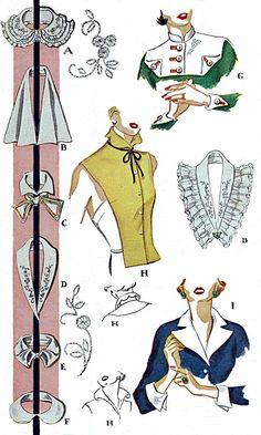50s Ladies Cuffs Collars & Vestee Pattern in 12 Styles