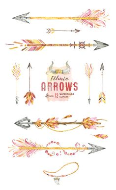 Ethnic Arrows. 12 Watercolor Hand painted Clipart by OctopusArtis