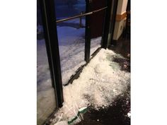 Valley Storm, March 29, 2012. After the hail stopped at the same Starbucks.  Both doors shattered. Photo by Ashlynn Biel