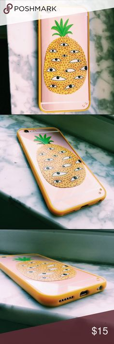 Geometric Pineapple Eye iPhone 6 Phonecase Quirky lil pineapple phone case for the iPhone 6. Covers all edges so it is quite protective. Tags/ignore: #iphone6 #phonecase #pineapple #eye #geometric #brandymelville #urbanoutfitters #madewell #forever21 Accessories Phone Cases
