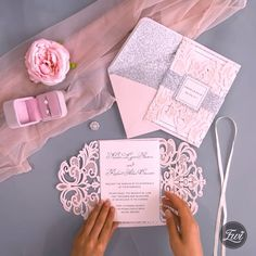 Top 20 Most Popular Pink Wedding Invitations from EWI Blush pink glitter laser cut wedding invitation DIY inspiration Glitter Wedding Invitations, Diy Invitations, Wedding Invitation Cards, Wedding Cards, Wedding Day, Trendy Wedding, Wedding Flowers, Wedding Vows, Invitation Kits