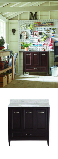 Store paint, wash brushes, and clean garden tools all while improving the look and feel of your potting shed, craft room or workshop. Click for more clever uses for bathroom vanities.