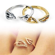 $0.99 Hot Fashion Vintage Retro Womens Exquisite Alloy Rhinestone 2 Leaf Ring 2 Color