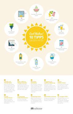 10 Tipps gegen die Hitze! Infografik mit Tipps gegens Schwitzen. (http://magazin.sofatutor.com/schueler/)