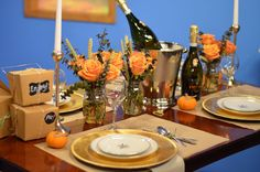 Simple Thanksgiving tabletop decor