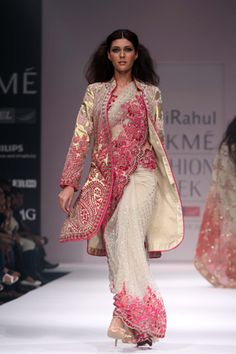 beautiful saree  though i wouldn't wear the jacket along. the pink design is really nice