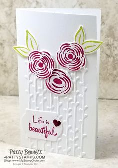 Believe it or not, these Petal Pair embossing folder Narrow Note cards were inspired by a tissue box... yep, seriously! These cards were inspired by a Puffs tissue box, and you can watch the story in