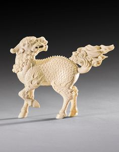 Title: Qilin Statue Carved in Ivory Culture: Chinese Date: Qing Dynasty, Qianlong period Size: 11 cm in) Source: Sotheby's Ancient China, Ancient Art, Chinese Culture, Chinese Art, Fu Dog, Jade, Historical Artifacts, Chinese Ceramics, Bone Carving