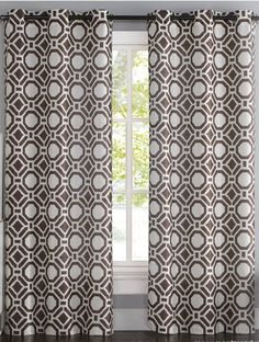 Vcny Home Maddox Printed Faux Silk 84 Inch Length Grommet Top Window Curtains Set Of Brown